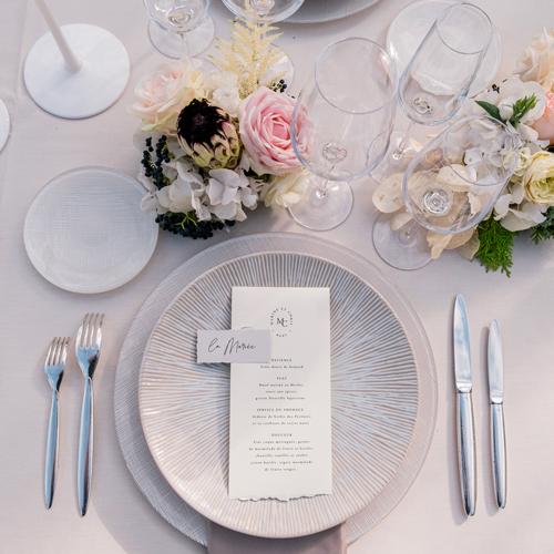 Art de la table et carterie au Chateau Gassies - lieux de prédilection de Sabeha Brunet, Wedding Planner pour mariage et évènements haut de gamme - Arcachon, Bordeaux, Saint-Emilion