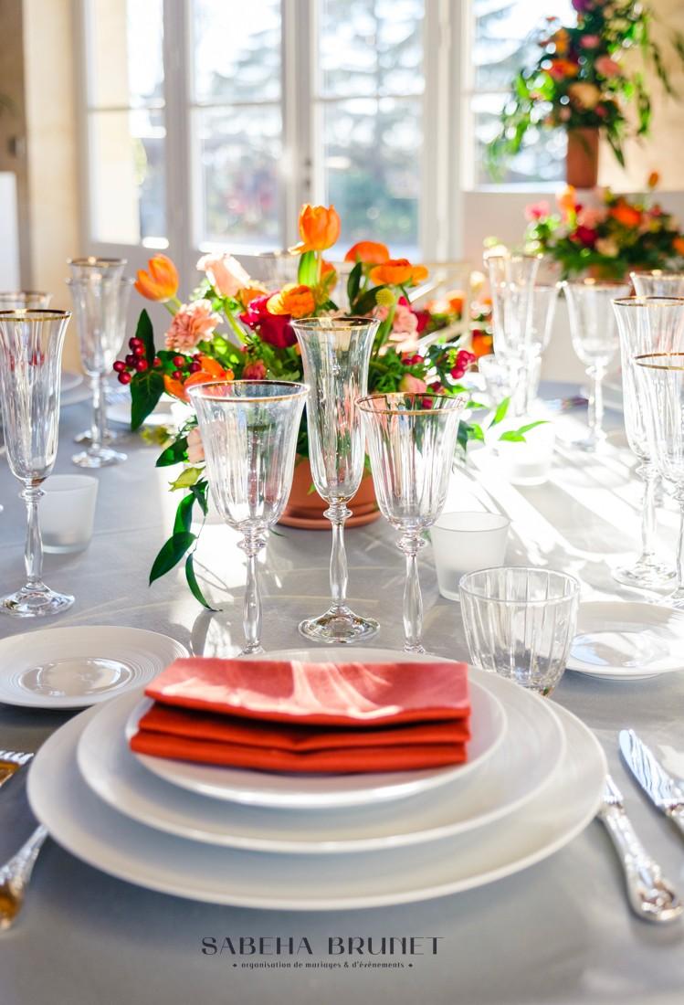 Mariage aux couleurs chaudes organisé par Sabeha Brunet, Wedding Planner pour mariage et évènements haut de gamme - Arcachon, Bordeaux, Saint-Emilion